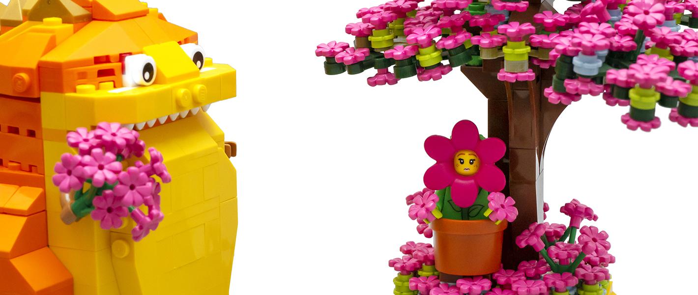怪兽也要追寻心中的美好——MOC小场景:哥斯拉与花